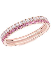 Verifine London 18kt Rose Gold Pink Sapphire & White Diamond Pair Ring - Uk J - Us 4.75 - Eu 48.7