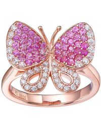 Fei Liu - Butterfly Rose Gold Plated Ring With White And Pink Cubic Zirconia - Lyst