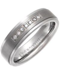 Star Wedding Rings - Titanium Flat Court Shape Matt Embossed Center Round Diamond 6mm Ring - Lyst