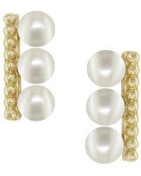 London Road Jewellery Burlington Yellow Gold Pearl Stud Earrings - Metallic