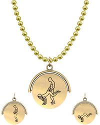 Allumer Sutra 13mm Gold Pendant Necklace - Girl And Boy - The Plough - Metallic