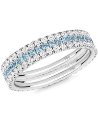 Verifine London 18kt White Gold Royal Azure 3-ring Eternity Stack - Metallic