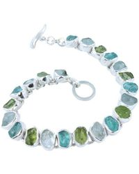 Reeves and Reeves - Rough Peridot, Aquamarine And Apatite Bracelet - Lyst