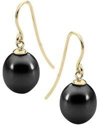 StyleRocks Black Pearl Yellow Gold Drop Earrings