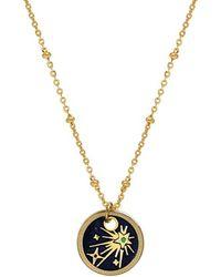 Mirabelle Jewellery Gold Plated Starburst Enamel Medal - Blue