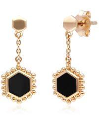 Gemondo Jewellery Gemondo Yellow Gold Plated Silver Flat Slice Black Onyx Drop Earrings