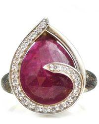 Lisa Robin Ring Swirl White Sapphires Around Ruby - Multicolor