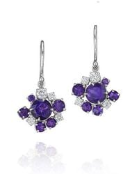 Madstone Design - Amethyst And Diamond Melting Ice Wire Earrings - Lyst
