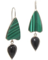 AVA Goldworks - Dianthus Black Onyx And Malachite Earrings - Lyst
