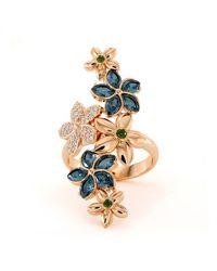 Dexter Augustus Ltd Plumeria Ring With Blue Topaz, Peridot And Cz - Uk J - Us 4.75 - Eu 48.7 - Metallic