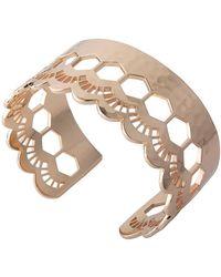 Murkani Jewellery Rose Gold Lace Edge Open Cuff Bangle - Metallic