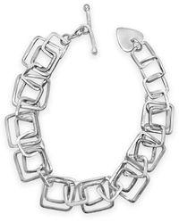 Designs by JAK Sterling Silver Harmony Double Squares Bracelet - Metallic