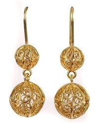 Luis Mendez Artesanos - 18kt Gold Filigree Two Balls Earrings - Lyst