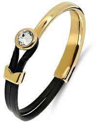 Yan Neo London Poppy Black & Gold Leather Bracelet - Multicolour