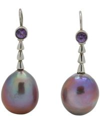 Lainey Papageorge Designs - Purple Pearl Toothpick Earrings - Lyst