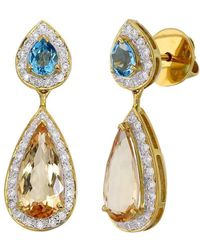 Aara Designer Jewelry - 18kt Gold & Diamond Golden Dew Drop Earrings - Lyst