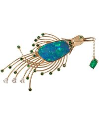 Mara Hotung Bird Of Paradise Opal Brooch 18kt Yellow Gold - Blue