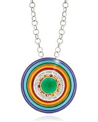 Elizabeth Raine 18kt White Gold Somewhere Over The Rainbow Ring Pendant Necklace - Multicolour