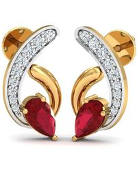Diamoire Jewels - 18kt Yellow Gold 0.13ct Pave Diamond Infinity Earrings With Ruby I - Lyst