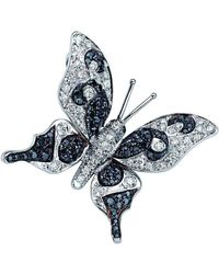 Pinomanna - White Gold & Diamond Natural Chic Butterfly Necklace   - Lyst