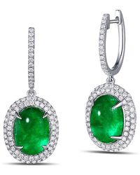 SILVER YULAN - Cabochon Emerald Diamond Earrings - Lyst