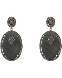 LÁTELITA London - Rose Gold Plated Hamsa Grey Mother Of Pearl Oval Earrings - Lyst