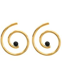 Arialis - Yellow Gold Plated Nautilus Earrings - Lyst
