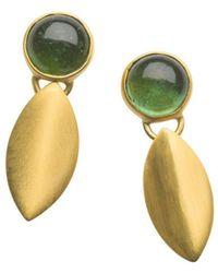 Naomi Tracz Jewellery - Yellow Gold Plated Silver Green Tourmaline Petal Dangle Earrings - Lyst