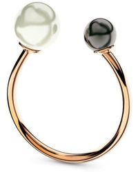 MARCELLO RICCIO - Rose Gold Double White & Black Pearl Ring - Lyst