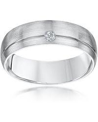 Star Wedding Rings Palladium Court Shape Diamond 6mm Matt Wedding Ring - Brown