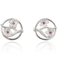 Fiona Kerr Jewellery Silver Cherry Blossom Stud Earrings With Garnets - Pink