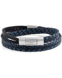 Tateossian - Silver & Navy Leather Cobra Doppio Bracelet - Lyst