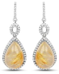 Olivia Leone Rhodium Plated Silver Golden Rutile Dangle Earrings - Metallic