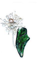 Kimili Sterling Silver White Dandelion Flower Brooch With Pearls & Cloisonné Enamel - Multicolour