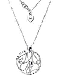 Lily and Lotty - Rafaella Silver & Diamond Disc Pendant Necklace - Lyst