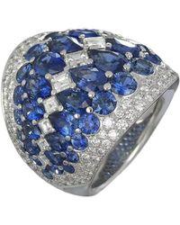 Baenteli - White Gold, Sapphire & Diamond Sphere Ring   - Lyst