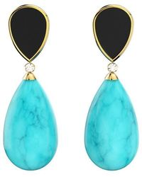 MARCELLO RICCIO Gold Plated Silver, Diamond & Turquoise Earrings - Black