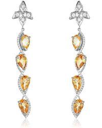 Nehita Jewelry - Sizzle Marquise Shaped Citrine & Diamond Earrings - Lyst