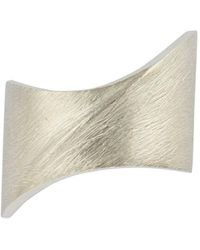 Cristina Cipolli Jewellery - Sterling Silver Solid Sharch Ring With Rough Matt Finish - Lyst