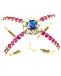 ERAYA 14kt Rose Gold Diamond, Ruby, & Sapphire Statement Ring - Multicolor
