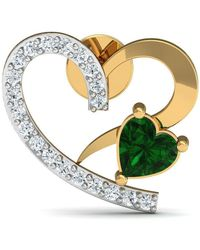 Diamoire Jewels - Heart Cut Emerald And Diamond Earrings In 14kt Yellow Gold - Lyst