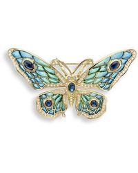 Nicole Barr 18kt Gold Butterfly Blue Brooch