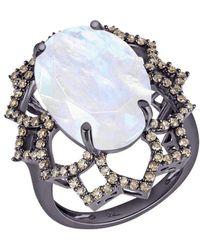 Arya Esha - Oval Cut Rainbow Moonstone And Diamond Ring - Lyst