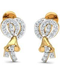 Diamoire Jewels 18kt Yellow Gold 0.07ct Pave Diamond Infinity Earrings With Emerald hQddOEbKo