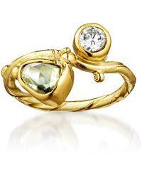 Bergsoe Yellow Gold Seafire Ring With Sapphire & Diamond   - Metallic