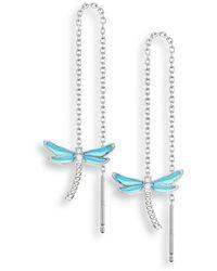 Nicole Barr - Silver Dragonfly Chain Threader Earrings - Lyst