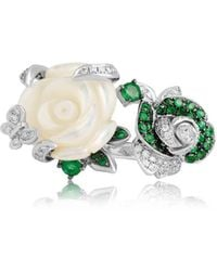 Jooal Corsage Ring With Diamonds, Emeralds, And Mother Of Pearl - Green