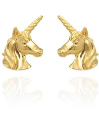 Jana Reinhardt Yellow Gold Plated Unicorn Earrings With Rainbow Ear Jackets Gold Plating jYKl5