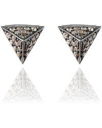LÁTELITA London - Diamond Pyramid Oxidised Earring - Lyst