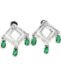 ERAYA 18kt White Gold Art Deco Diamond Dangler Earrings